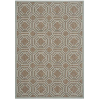 Safavieh Indoor/ Outdoor Moroccan Courtyard Brown/ Aqua Rug (5'3 x 7'7)