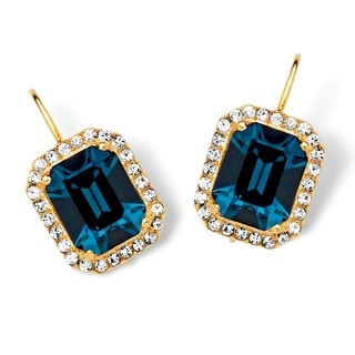PalmBeach Emerald-Cut Indigo Crystal Earrings MADE WITH SWAROVSKI ELEMENTS in 14k Gold over Sterling Silver Color Fun