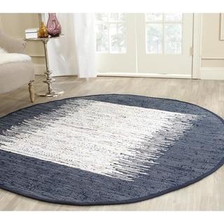 Safavieh Hand-woven Montauk Ivory/ Navy Cotton Rug (6' Round)
