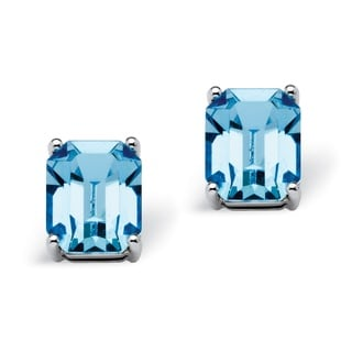 PalmBeach Jewelry Platinum Over Silver Capri Blue Earrings made with Swarovski Elements Color Fun