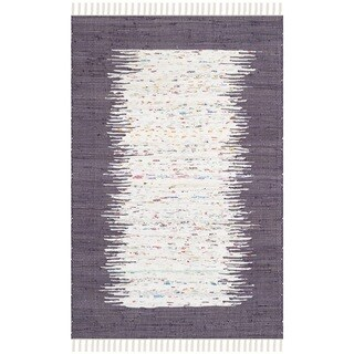 Safavieh Hand-woven Montauk Ivory/ Purple Cotton Rug (3' x 5')
