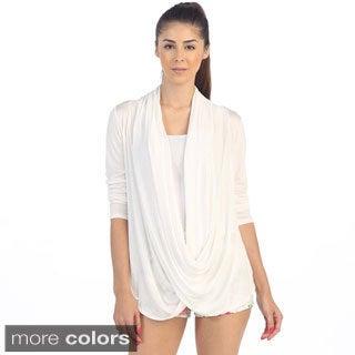Hadari Women's Drape-front Long-sleeved Surplice Top