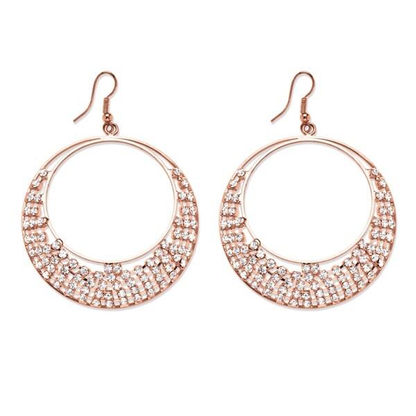 PalmBeach Crystal Row Circle Drop Earrings Bold Fashion