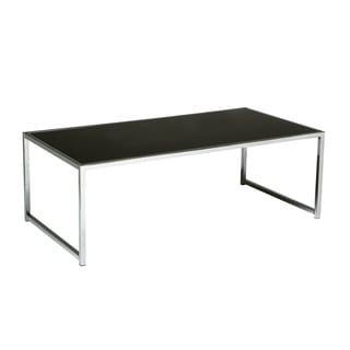Glass/ Chrome Reinforced Metal Base Coffee Table