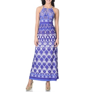London Times Women's Blue Floral Print Maxi Dress
