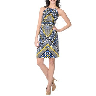 London Times Women's Abstract Geometric Print Halter Dress