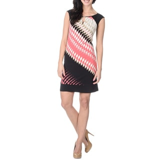 London Times Women's Diamond Printed Sheath Dress