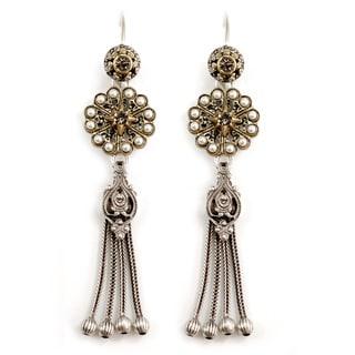 Sweet Romance Pewter Pearl Rosette Tassel Earrings