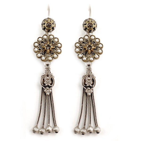 Sweet Romance Pewter Pearl Rosette Tassel Earrings