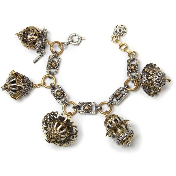 Sweet Romance Pewter Lanterns Charm Bracelet