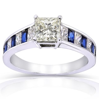 Annello 14k White Gold Blue Sapphire and 2ct TDW Diamond Engagement Ring (H-I, SI1-SI2)