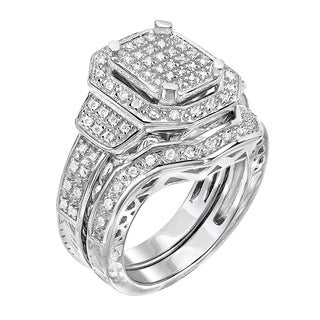 Sterling Silver 1/2ct TDW Diamond Bridal Set Ring (G-H, I1-I2)