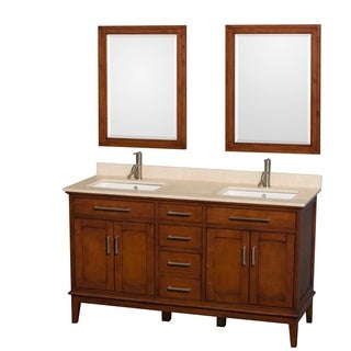 Wyndham Collection Hatton 1-hole Faucet Light Chestnut 60-inch Double Vanity