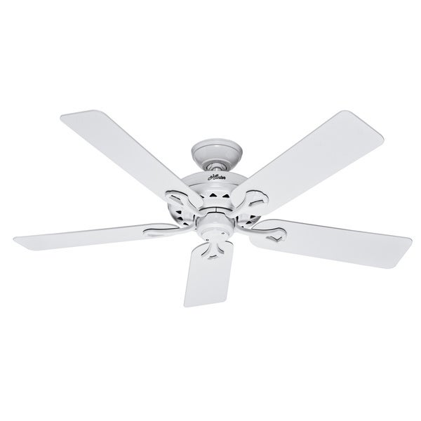 Hunter Savoy 52-inch Ceiling Fan with White Finish and Five White/ Light Oak Blades