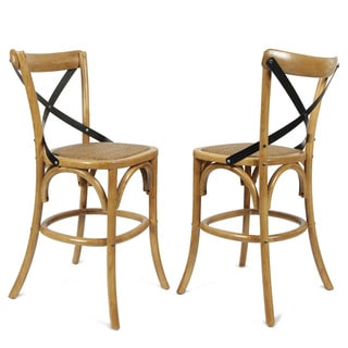 Tan Elm Wood Rattan Antique Bistro Bar Stool