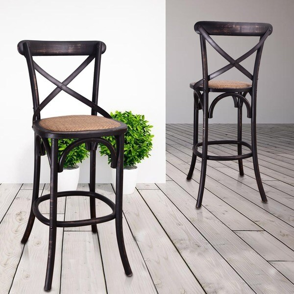Elm Wood Rattan Antique Bistro Bar Stool Overstock