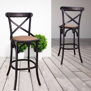 Elm Wood Rattan Antique Bistro Bar Stool