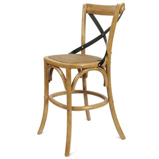 Elm Wood Rattan Antique Natural Finish Bar Stool