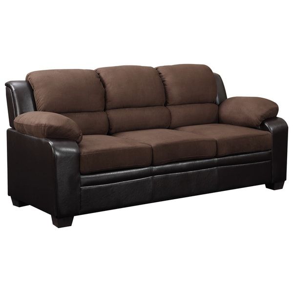 Two-tone Brown Microfiber/ Faux Leather Sofa - 16198426 - Overstock.com Shopping - Great Deals ...
