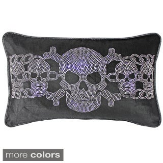 Jackson Morgan Studded Skull Chain Feather Fill Throw Pillow