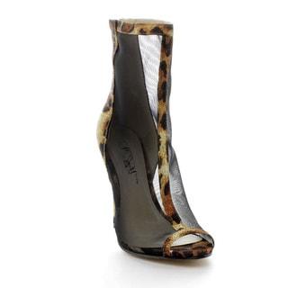 Wildrose GISELLE01A Women's Leopard Mesh Back-zipper Stilettos
