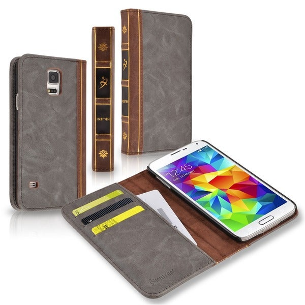 Insten Charcoal/ Brown Vintage Leather Wallet Folio Case for Samsung Galaxy S5/ SV