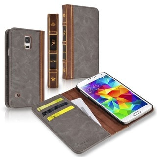 INSTEN Charcoal/ Brown Bibble Book Vintage Leather Case for Samsung Galaxy S5 SV