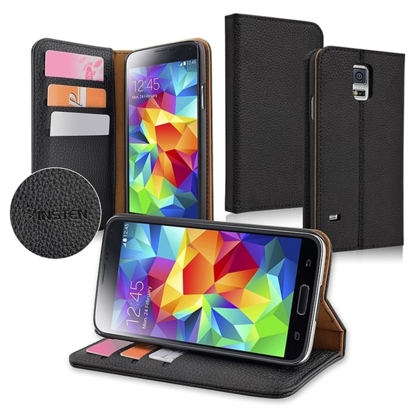 INSTEN Black Leather Stand with Card Slot Cover Case for Samsung Galaxy S5 SV