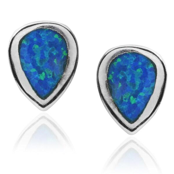 Journee Collection Sterling Silver Opal Tear-drop Stud Earrings