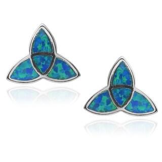 Journee Collection Sterling Silver Opal Celtic Triangle Stud Earrings