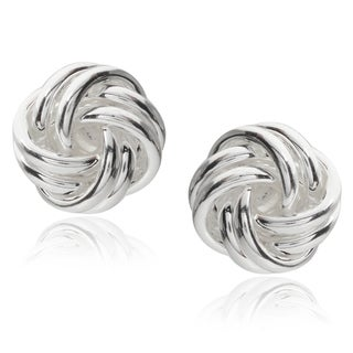 Journee Collection Sterling Silver Knot Stud Earrings