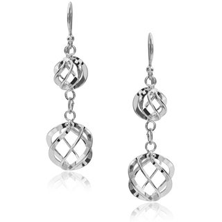 Tressa Collection Sterling Silver Twisted Ball Dangle Earrings