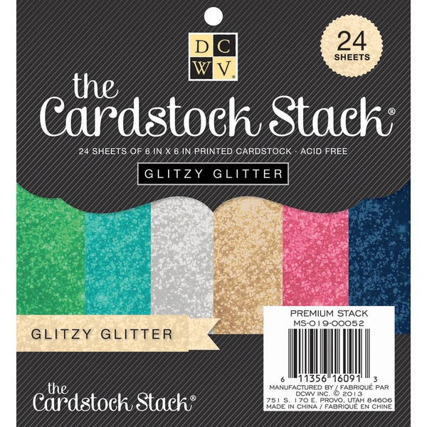 "Glitzy Glitter Cardstock Paper Stack 6""X6"" 24/Sheets-6 Colors/4 Each"