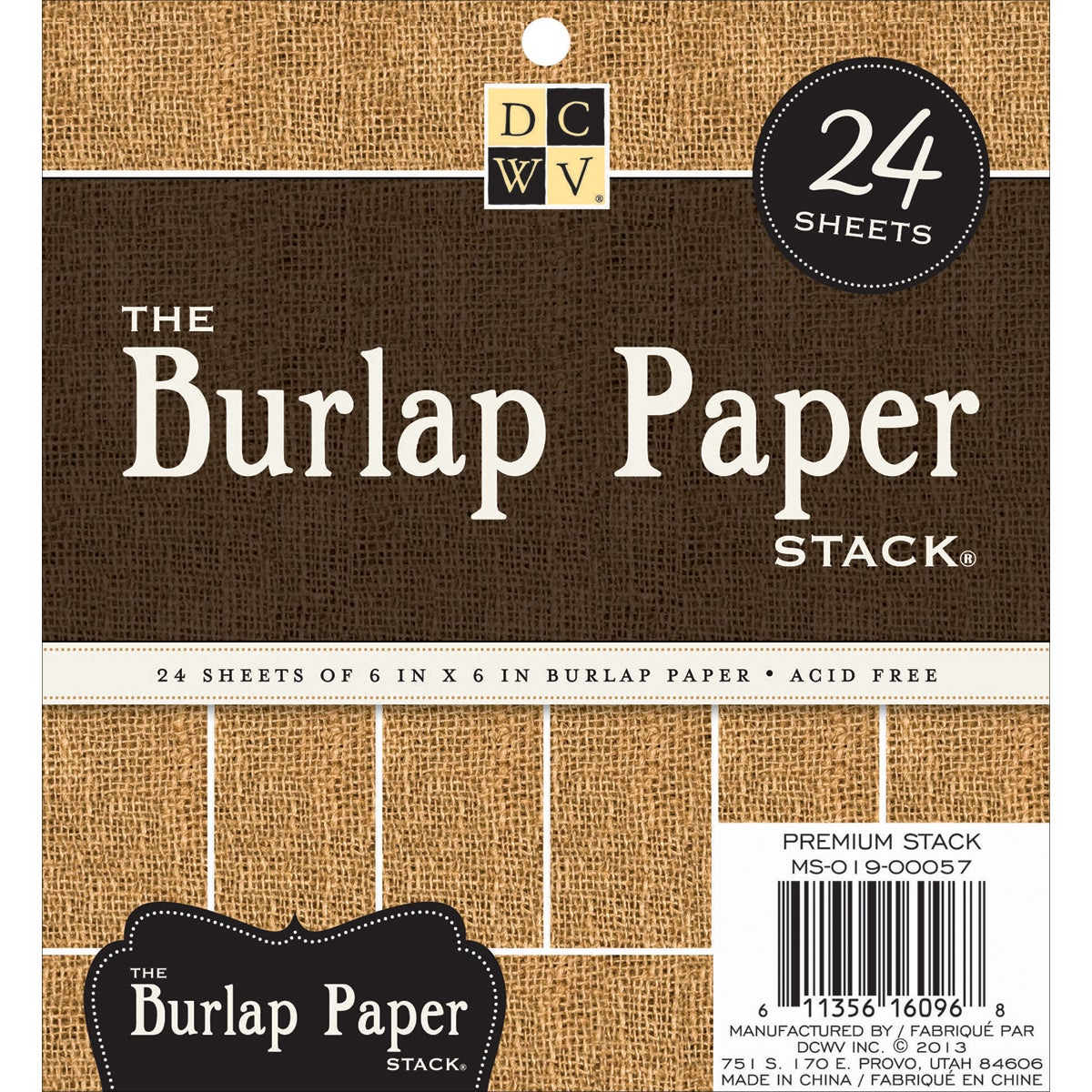 "Burlap Covered Cardstock Paper Stack 6""X6"" 24/Sheets-Natural"