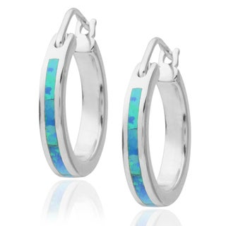 Journee Collection Sterling Silver Opal Hoop Earrings