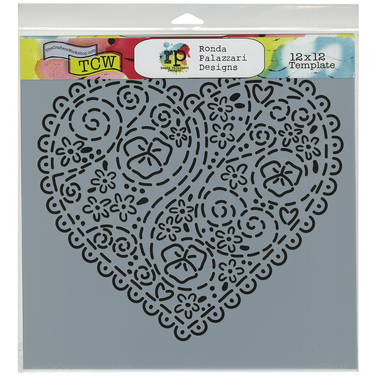 "Crafter's Workshop Template 12""X12""-Embroidered Heart"