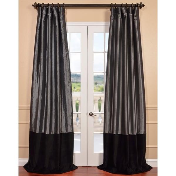 Graphite Taffeta and Velvet Banded Curtain Panel
