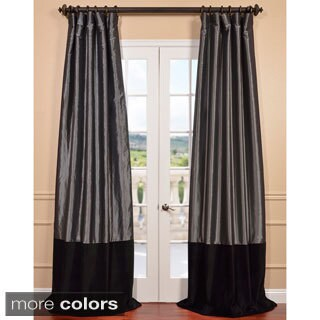 Exclusive Fabrics Graphite Taffeta and Velvet Banded Curtain Panel