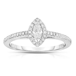 14k White Gold 1/3ct TDW Marquise Diamond Ring (H-I, I1-I2)