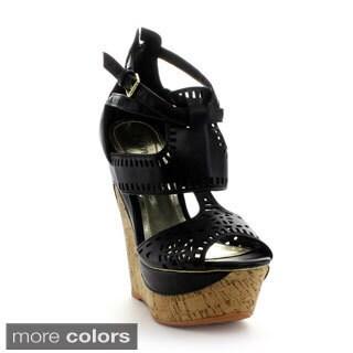 Bumper Women's 'BEVERLY11' Cut-out Ankle Strap Platform Shoes