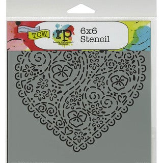 """Crafter's Workshop Template 6""""X6""""-Embroidered Heart"""