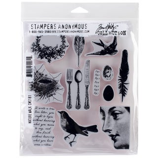"Tim Holtz Cling Rubber Stamp Set 7""X8.5""-Nature Walk"