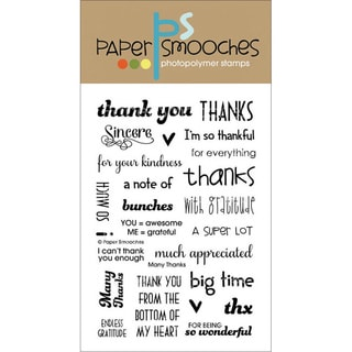 "Paper Smooches 4""X6"" Clear Stamps-Many Thanks"