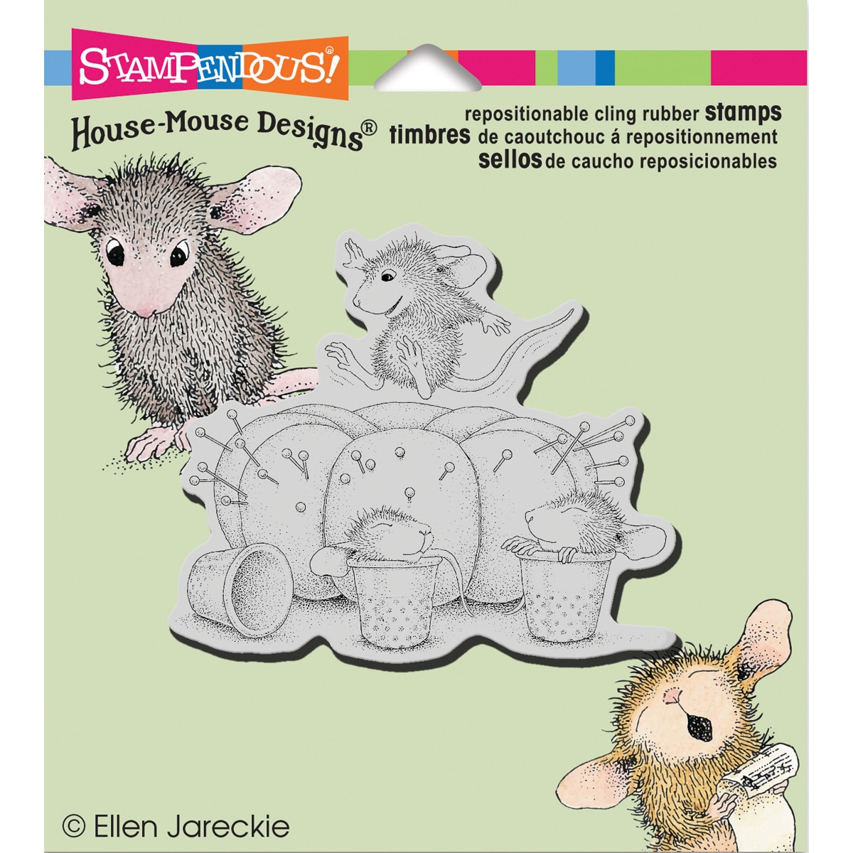 "Stampendous House Mouse Cling Rubber Stamp 3.5""X4"" Sheet-Pin Cushion"