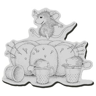"""Stampendous House Mouse Cling Rubber Stamp 3.5""""X4"""" Sheet-Pin Cushion"""