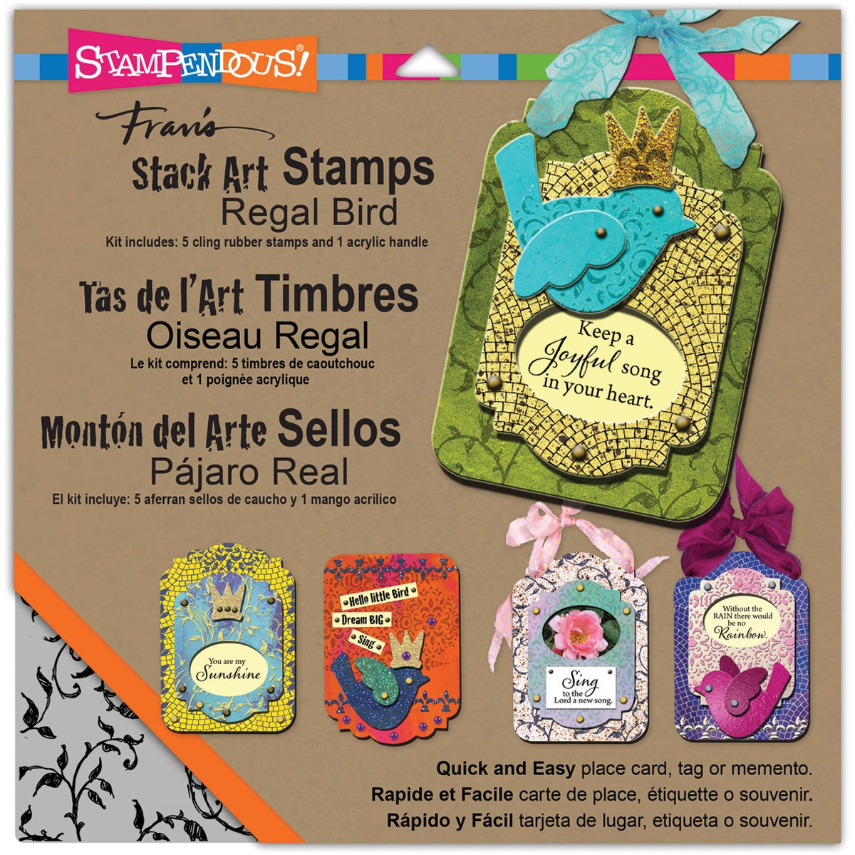 Stampendous Stack Art Cling Stamp Kit 6/Pkg-Regal Bird