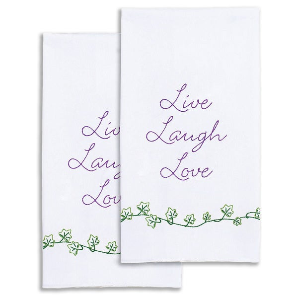 "Stamped White Decorative Hand Towel 17""X28"" One Pair-Live, Laugh, Love"