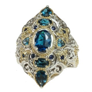 Michael Valitutti Two-tone Multi-gemstone Ring