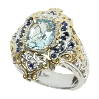 Michael Valitutti Two-tone Aquamarine and Blue Sapphire Ring