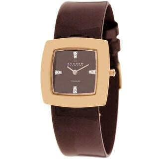 Skagen Women's 570STRLD Titanium Brown Leather Watch